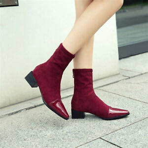 Womens-Pointed-Toe-Patent-Leather-Suede-Booties-Chunky-Heels-Shoes-Ankle-Boots