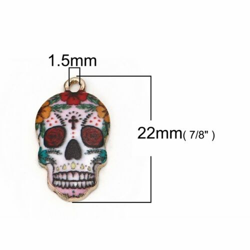 Sugar Skull Charms 22mm Gold Plated Calavera Pendants C1154-2 5 Or 10PCs