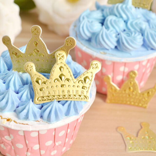 50X Gold Crown Cupcake Toppers Wedding Pick Party Picks Food Pick Party Decor SE