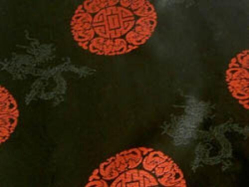 Jacquardstoff negro con rojo suerte caracteres METERWARE