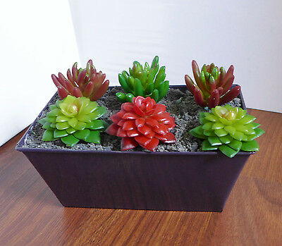 Set of 7 Artificial Succulents Plants Miniature Aloe Yacon