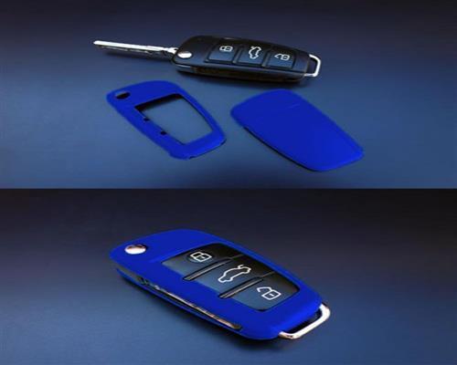 PREMIUM Schlüssel Cover Gehäuse Blau #2 für Audi A1 A3 A4 A6 Q3 Q5 Q7 TT Exeo