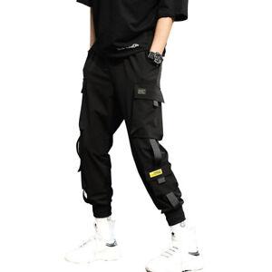 Mens Multi-pocket Harem Pants Jogger Trousers Cargo Combat Street Hip-hop Loose