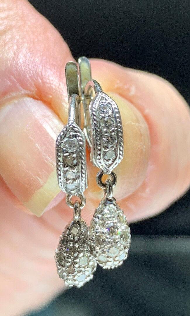 PENNY PREVILLE 18K WHITE gold & PAVE DIAMOND DROP DANGLE DESIGNER EARRINGS