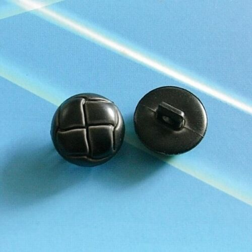 12 Faux Imitation Leather Football Shirt Dome Buttons Charcoal Black 15mm G135a
