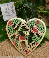 GISELA GRAHAM Christmas Tree Decoration Hanging Fretwork Bambi Deer Robin Heart