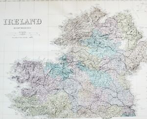 1883 Large Map Ireland Northern Section Tyrone Donegal Londonderry