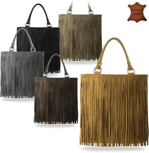 hippie tasche boho style damen ledertasche wildleder mit fransen in 5 farben ebay. Black Bedroom Furniture Sets. Home Design Ideas