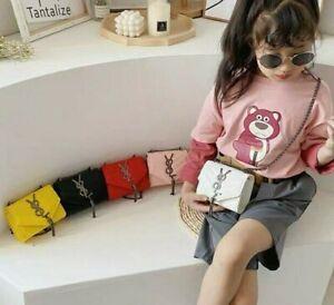 Fashion Trendy Kids Toddler Baby Girl Crossbody Chain Bag Black Red Pink White