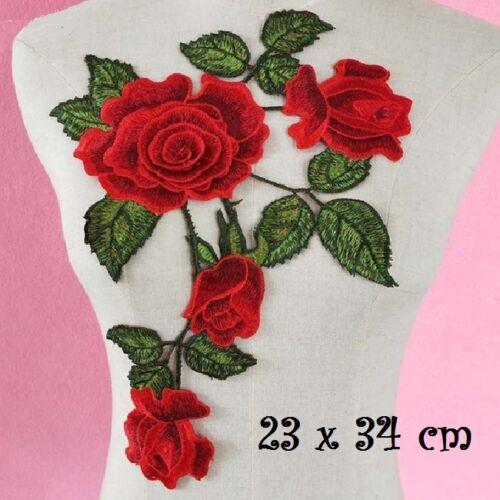 Patch à coudre Fleur Rose Feuille 23 x 34 cm ACD51 APPLIQUE BRODÉE // ROUGE