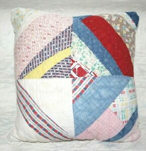 Throw-Pillow-Made-From-Vintage-1930-039-s-Farmhouse-Feedsack-Patchwork-Quilt