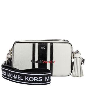MICHAEL KORS Small Tri-Color Leather Camera Bag- Optic White/Black 32H8SF5M0L-08