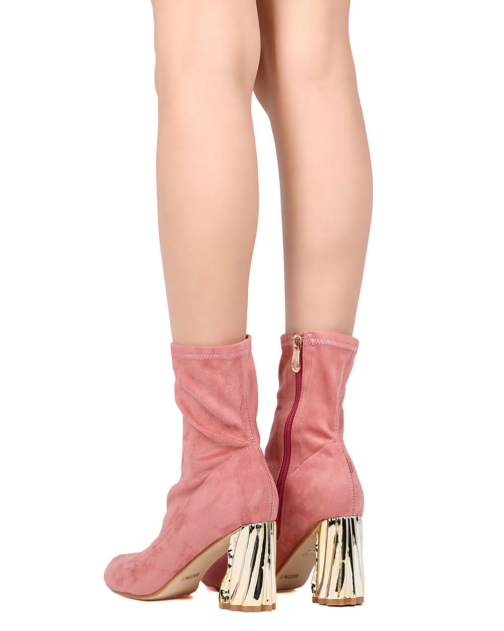 New Women Cape Robbin Bacon-1 Fabric Pointy Toe Structural Chunky Heel Bootie
