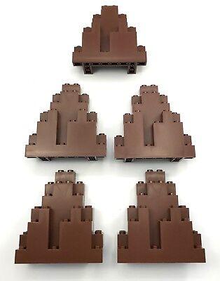 LEGO 5 REDDISH BROWN 3 X 8 X 7 CASTLE TRIANGULAR ROCK WALL PIECES