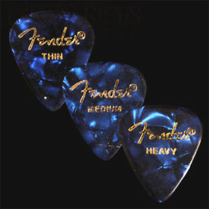 12-Fender-Celluloid-Guitar-Picks-Blue-Moto-Thin-Med-Heavy-Or-A-Mix-Of-Sizes
