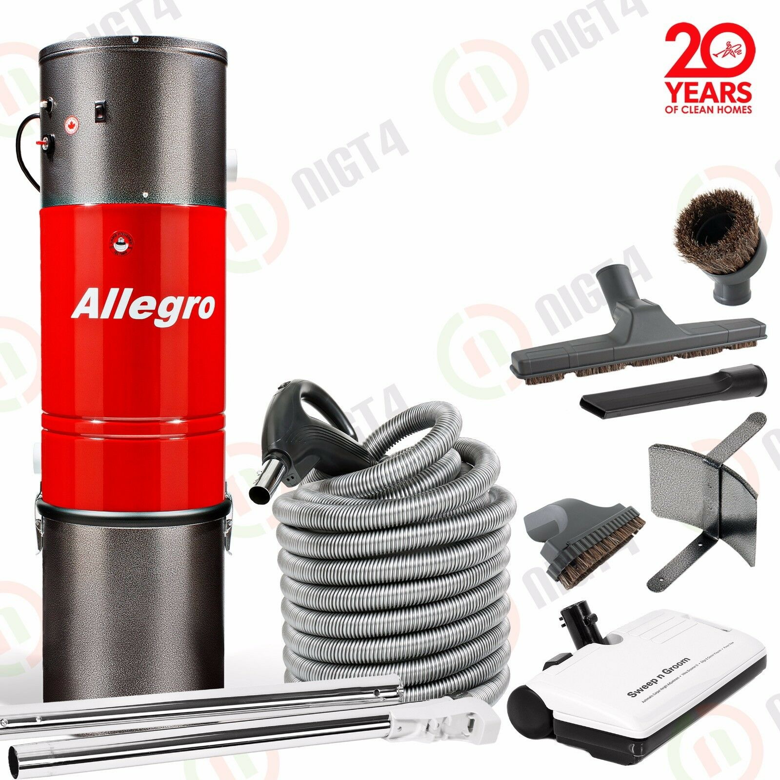 NEW Allegro Central Vacuum 3,000sq ft 30 ft Electric Pigtail Hose Sweep n Groom