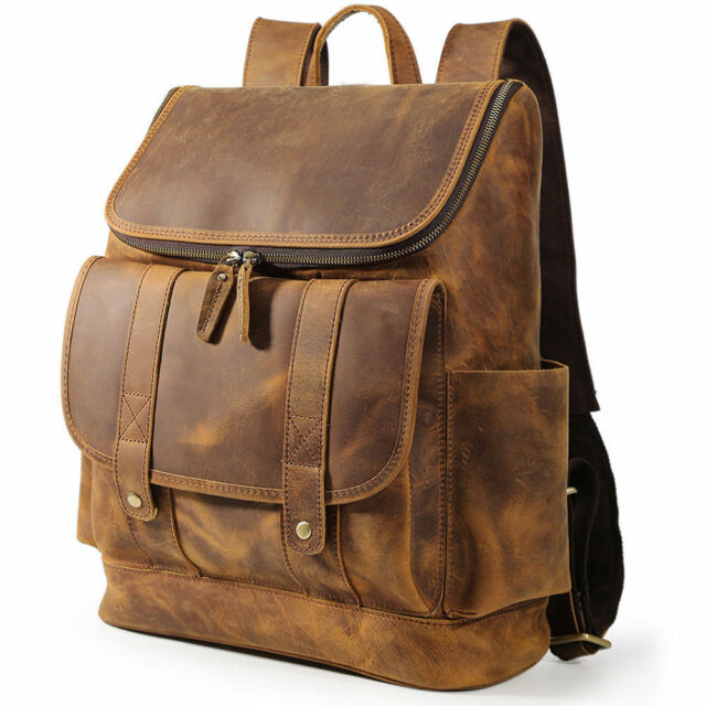 Vintage Real Leather 16 Laptop Backpack Men Travel Satchel Daypack School Bag