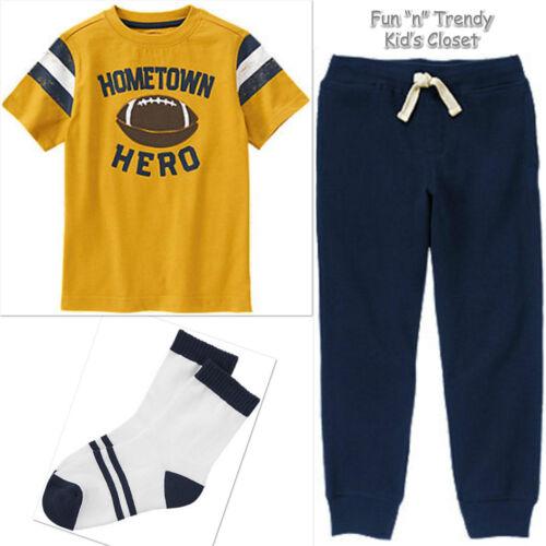 NWT Gymboree HOMETOWN HERO Boys Size 7 8 Football Tee Shirt Sweatpants Socks SET