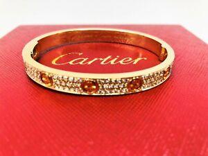 cf061645550e1 Details about Cartier Love Bracelet, 18K Yellow Gold, 204 Brilliant cut  Diamonds, Size 17