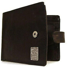 Jack Daniels: Old No.7 Leather Bi Fold Wallet With Coin Pocket - New & Official