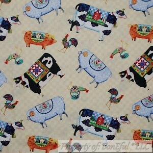 BonEful-FABRIC-FQ-Cotton-Quilt-White-B-amp-W-Cow-Pig-Rooster-Farm-Animal-Country-Cat