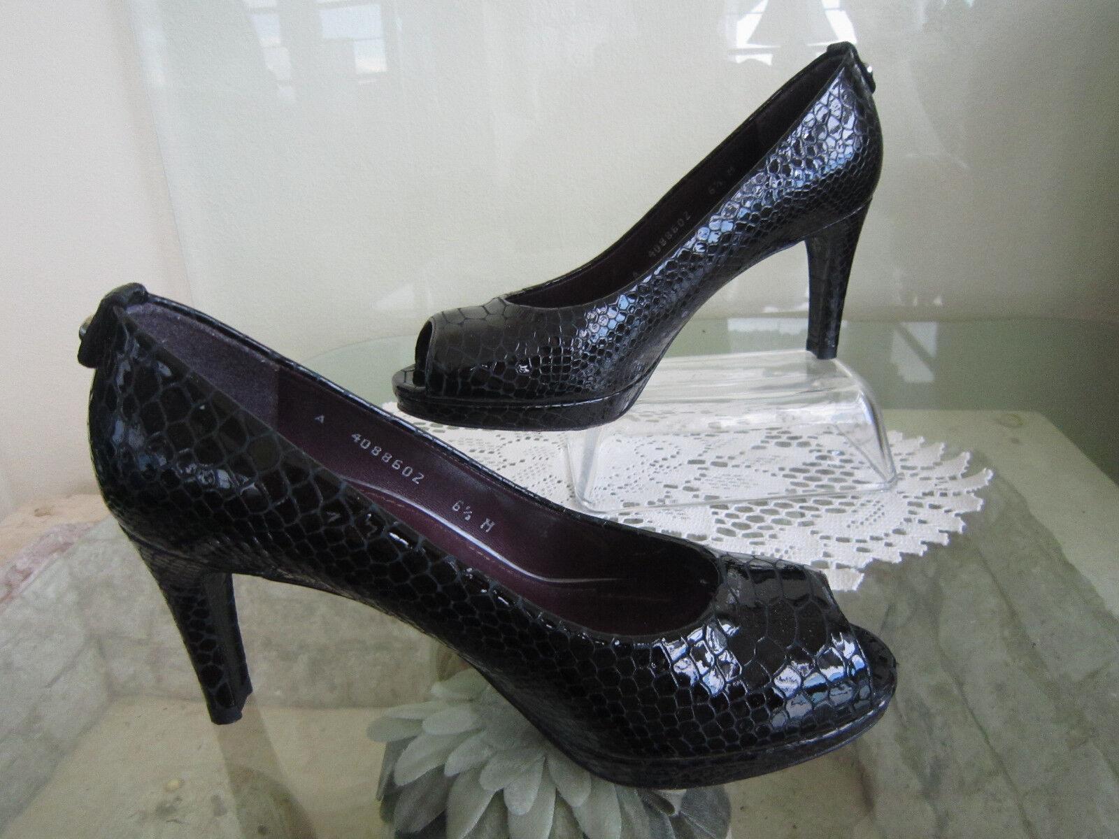 Stuart Weitzman Black Patent Leather Peep Toe Croc Classic Pump Sz 6 1 2 M