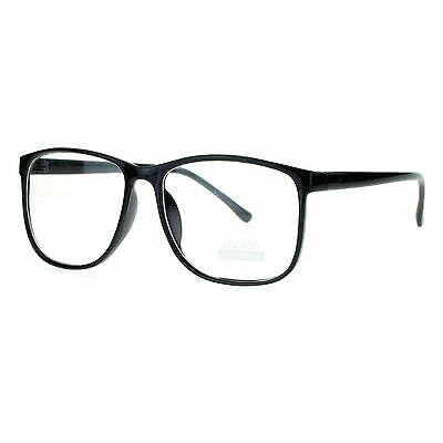Black Large Nerdy Geek Old School Clear Lens Thin Horn Rim Eye Glasses Frame New