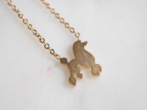 Collar con caniche-Perro-remolque-oro o plata