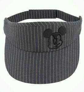 Disney Parks Mickey Mouse Premium Pinstripe Sun Visor Cap Hat Black ... 8ba7e4b2f40
