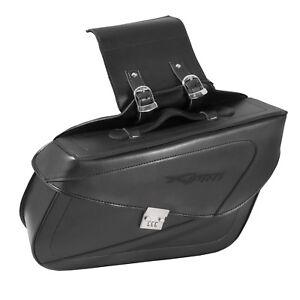 Borsa-Moto-Customo-Chopper-Borchie-Cromate-Nero-laterale-destra-singola
