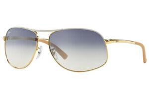 RARE-NEW-RAY-BAN-Gold-White-Blue-Aviator-Metal-Mirror-Sunglasses-RB-3387-077-7B