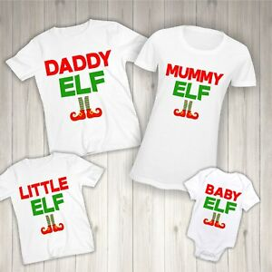4fa79279b5ff0 Details about Elf Christmas T-shirt - Matching Family Clothing Children  Names Mummy Daddy Baby