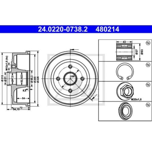 24.0220-0738.2 2 x Bremstrommel Trommel ATE