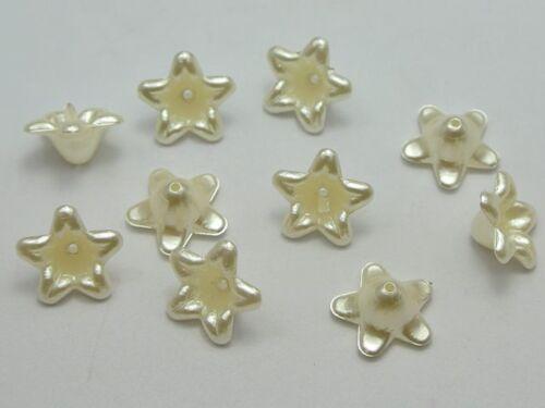100 Marfil de Acrílico Perla Bead Cap cuentas de flor de campana 12 mm centro de arco de costura