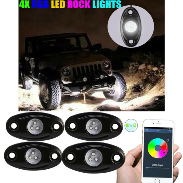 4X Wireless Bluetooth CREE RGB LED Rock Light Offroad SUV Under Rig Multi-Color