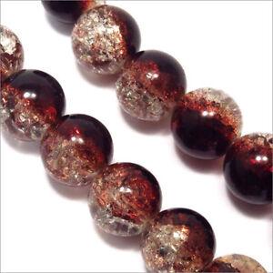 Lot de 20 Perles Craquelées en verre 12mm Bicolore Marron Cristal isx7wDwu-09094749-279140211