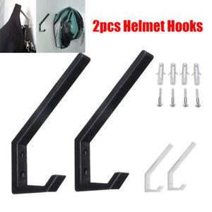 3x Metal Wall Mount Motorcycle Helmet Holder Hook Jacket Bag Rack Hanger Display