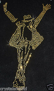 MJ-micheal-Jackson-Gold-iron-on-RHINESTONE-Diamante-Bead-Transfer-Applique-craft