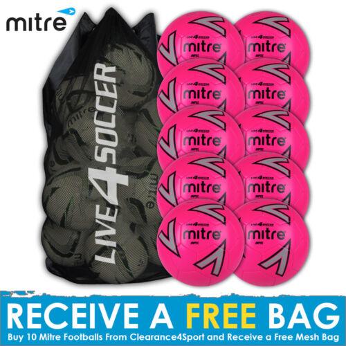 10 Pink Training Footballs Plus FREE Mesh Bag Mitre Impel New 2018 Design