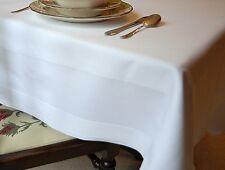 "BNWT TABLE CLOTH WHITE 90""X54"" CELEBRATION, WEDDING, BIRTHDAY, SATIN BAND DESIGN"