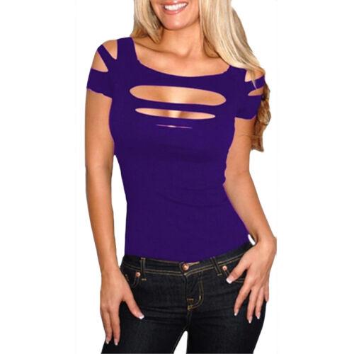 Damen Cut Out Kurzarmshirt Sommer Stretch T-Shirt Tops Bluse Freizeit Oberteile