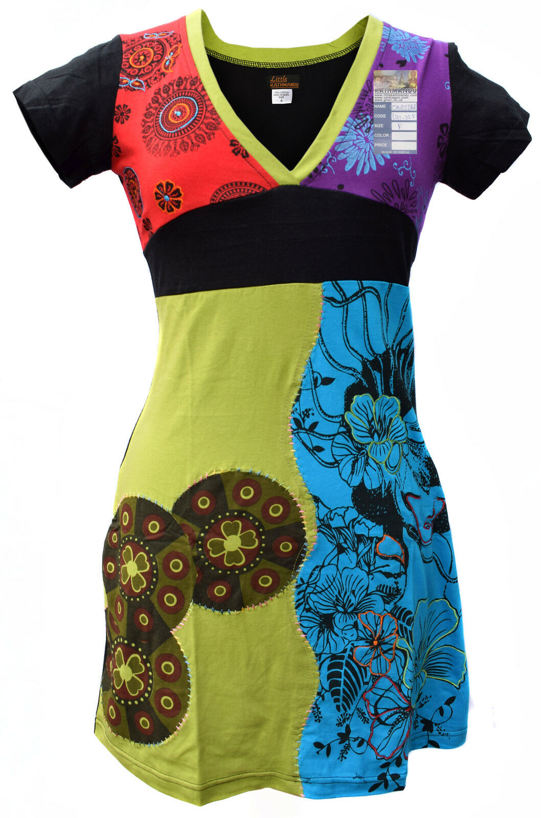 Ladies Stitch Floral Short Sleeve Psychedelic Cotton Summer Patch Bohemian Dress