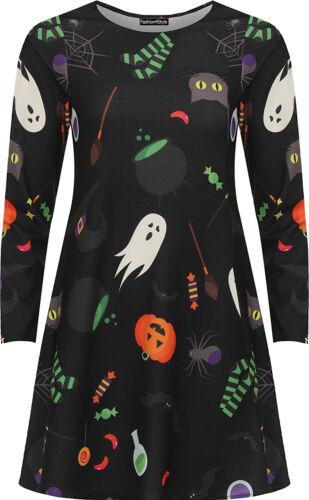 Femme Plus Taille Halloween Imprimé Fantaisie Costume Manche Longue Swing Robe Patineuse