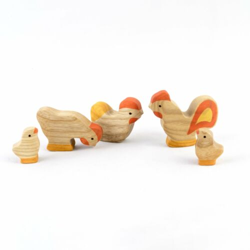 5 pieces Waldorf  Natural Wooden Rooster with Chickens Set