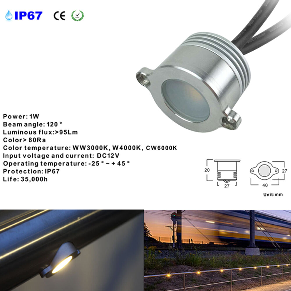 12 PCS 1W DC12V Exterior LED Illuminated Handrail Railings Light Decor Retrofit