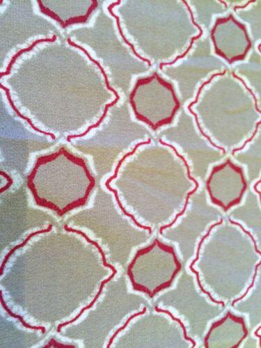 M CHICO/'S *NEW SIZE 1 BEIGE-RED GEOMETRIC ELASTIC WAIST VANESSA SLIM PANTS