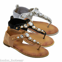 WOMENS LADIES FLAT DIAMANTE TOE POST SHOE SANDAL T BAR THONG BEACH SUMMER JELLY