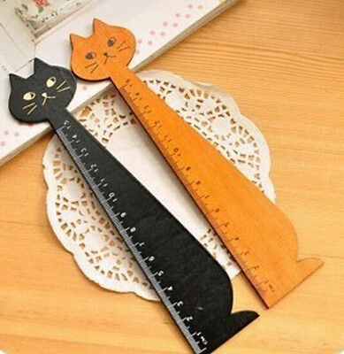 Korea Kawaii Cute Cat  Face Stationery Wood Ruler Sewing Ruler  ~1pc~