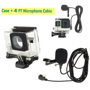 For-GoPro-Hero-4-3-3-Side-Open-Skeleton-Housing-Case-4FT-External-Microphone