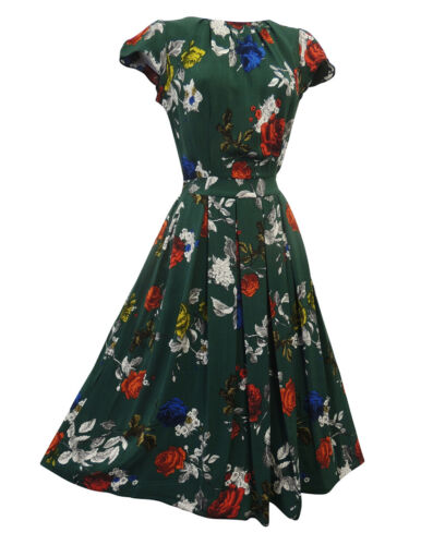 1940s Dresses | 40s Dress, Swing Dress    New Green Red Floral Wartime WW2 Victory 1940s Vintage style Tea Dress $26.99 AT vintagedancer.com
